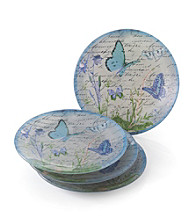 Crystal Clear® Notions Blue Butterfly Set of 4 Salad Plates