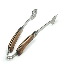 Charcoal Companion Explorer Rosewood Folding Handle Tongs