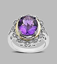 Amethyst and .024 ct. t.w. Diamond Sterling Silver Ring
