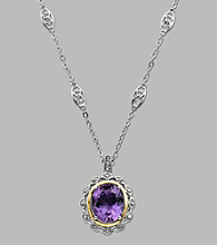 Amethyst and .024 ct. t.w. Diamond Sterling Silver Necklace