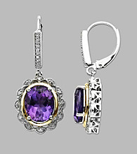 Amethyst and .05 ct. t.w. Diamond Sterling Silver Earrings