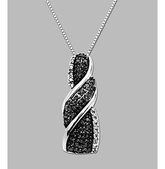.22 ct. t.w. Black and White Diamond Sterling Silver Pendant