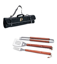 Picnic Time® NFL® 3-pc. Black BBQ Tote - Washington Redskins Digital Print