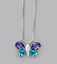 Sterling Silver Purple Blue Butterfly Necklace