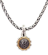 Effy® Sterling Silver and 18K Yellow Gold Floral Pendant with .19 ct. t.w. Diamond