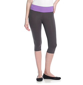 Calvin Klein Performance Charcoal and Purple Running Tight with Shirred Waistband