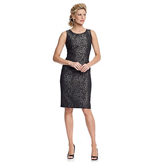 Kasper® Black Leopard-Print Sheath Dress