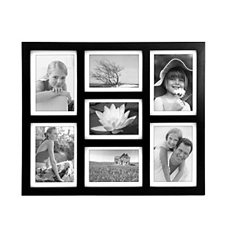 "Malden 7-Opening 4""x6"" Black Wood Picture Frame"