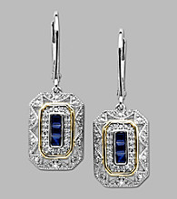 .13 ct. t.w. Diamond and Blue Sapphire Drop Earrings