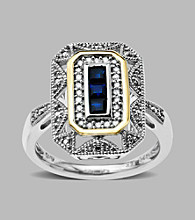 .12 ct. t.w. Diamond and Blue Sapphire Ring