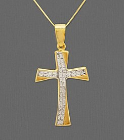 14K Gold and Sterling Silver Cross Pendant