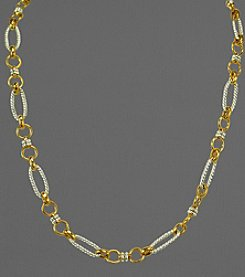 14K Gold and Sterling Silver Twisted Link Necklace