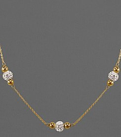 14K Gold and Sterling Silver Crystal Beaded Necklace