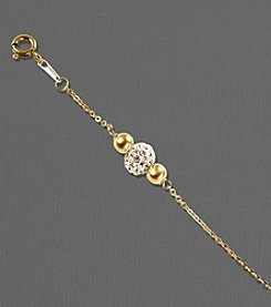 14K Gold and Sterling Silver Crystal Beaded Bracelet
