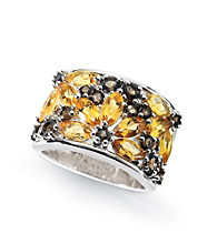Sterling Silver Smoky Quartz and Citrine Ring