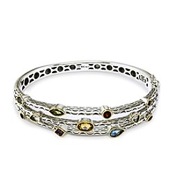 Effy® Sterling Silver & 18K Gold Multi Gem Bangle Bracelet