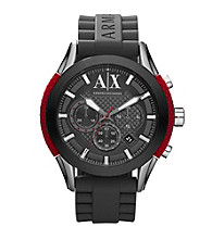 A|X Armani Exchange Men's Gray and Red Silicone Watch
