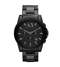 A|X Armani Exchange Mens Black and Glitz Stainless Steel Watch