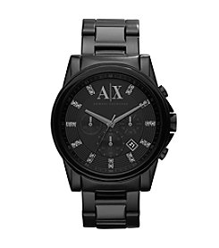 A|X Armani Exchange Men's Black and Glitz Stainless Steel Watch