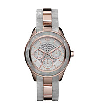 A|X Armani Exchange Women's Clear Resin and Rose Goldtone Stainless Steel Watch