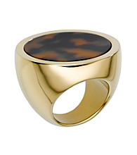 Michael Kors® Goldtone and Tortoise Acetate Slice Ring