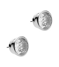 Michael Kors® Silvertone Clear Stone Medium Stud Earrings