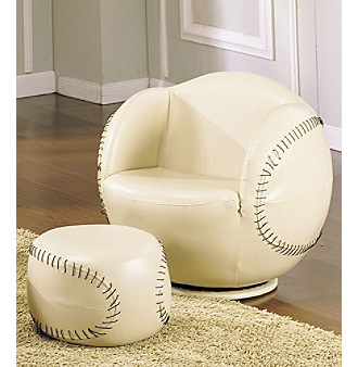 Acme All Star Baseball Swivel Chair & Ottoman Set