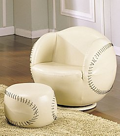 Acme All-Star Baseball Swivel Chair & Ottoman Set