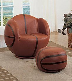 Acme All-Star Basketball Swivel Chair & Ottoman Set
