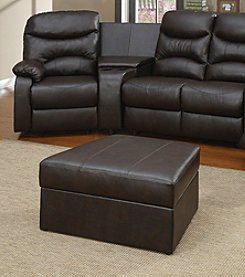 Acme Brown Faux Leather Storage Ottoman