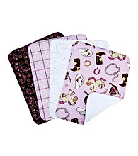 Trend Lab Rodeo Princess 4-pack Burp Cloth Set