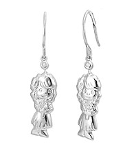 Precious Moments® .02 ct. t.w. Diamond and Sterling Silver Girl Praying Earrings