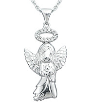 Precious Moments® .06 ct. t.w. Diamond and Sterling Silver Angel Pendant