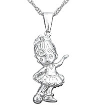 Precious Moments® .005 ct. t.w. Diamond and Sterling Silver Ballerina Pendant