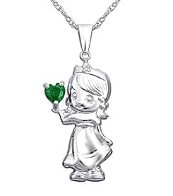 Precious Moments® .006 ct. t.w. Diamond and Sterling Silver Birthstone Heart Pendant