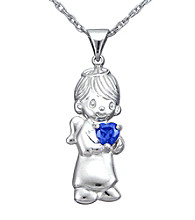 Precious Moments® Sterling Silver Birthstone Boy Pendant