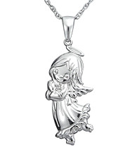 Precious Moments® .008 ct. t.w. Diamond and Sterling Silver Girl Angel Pendant