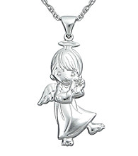 Precious Moments® .007 ct. t.w. Diamond and Sterling Silver Boy Angel Pendant