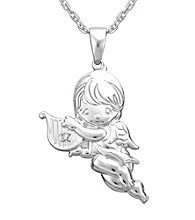 Precious Moments® .008 ct. t.w. Diamond and Sterling Silver Boy Angel Pendant