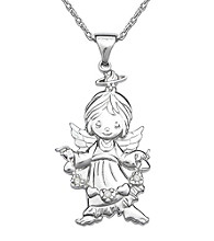 Precious Moments® Sterling Silver with .02 ct. t.w. Diamond Angel and Heart Pendant
