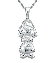 Precious Moments® .008 ct. t.w. Diamond and Sterling Silver Bride Pendant