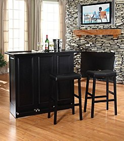 Crosley Furniture Mobile Folding Bar with Upholstered Saddle Stools