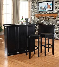 Crosley Furniture Mobile Folding Bar Upholstered Square Seat Stools