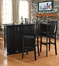 Crosley Furniture Mobile Folding Bar with School House Stools