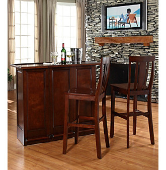 Crosley Furniture Mobile Folding Bar with Shield Back Stools