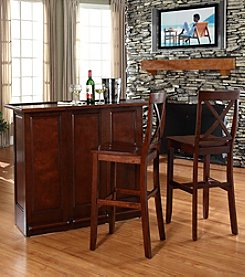 Crosley Furniture Mobile Folding Bar with X-Back Stools