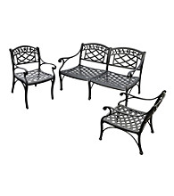 Crosley Furniture Sedona Cast Aluminum Loveseat & Set of 2 Club Chairs