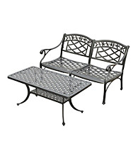 Crosley Furniture Sedona Cast Aluminum Outdoor Loveseat & Cocktail Table Set