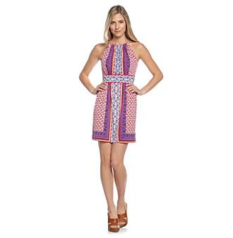 Maggy London Violet and Magenta Halter Print Dress