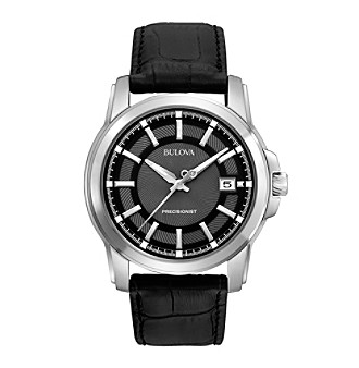 Bulova® Men's Precisionist Black Dial and Leather Strap Watch